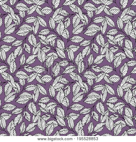 Vector seamless pattern with stylized branches on a violet background. Decorative background for design and decoration of textiles wallpaper packaging and wrapping paper