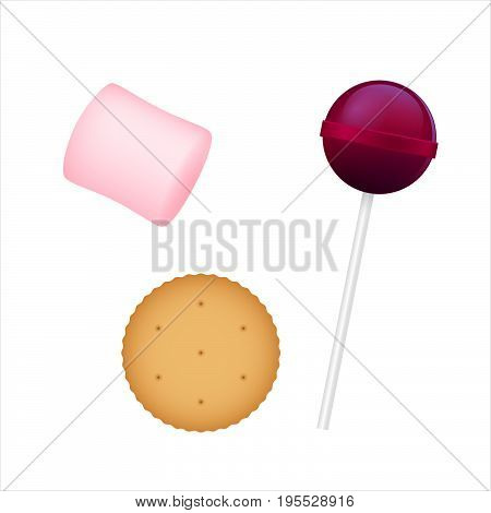 Colorful Chupa Chups, marshmallow, cracker. 3D illustration Vector sweet