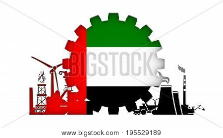 Energy and Power icons set with flag of the United Arab Emirates. Sustainable energy generation and heavy industry. 3D rendering.