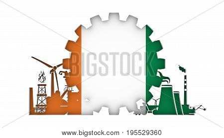 Energy and Power icons set with flag of the Ivory Coast. Sustainable energy generation and heavy industry. 3D rendering.
