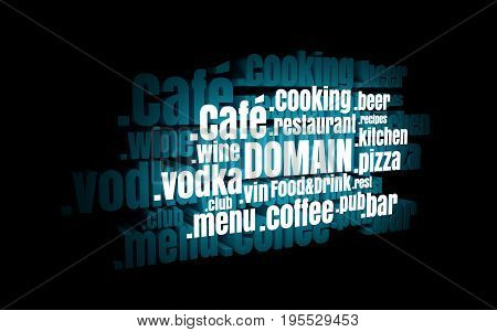 Domain names words cloud relative to food and drink theme. Internet and web telecommunication concept. 3D rendering. Neon bulb illumination