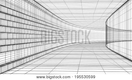 Abstract architecture wireframe structure 3D render isolated on white