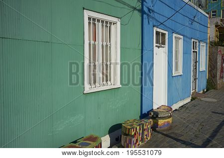Colourful houses in City of Valparaiso in Chile