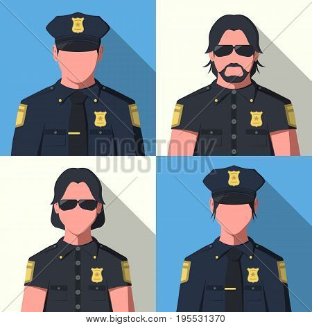 Avatars of police officers. Law enforcement illustration. Silhouettes of man and woman in police uniform. Flat vector policemen.
