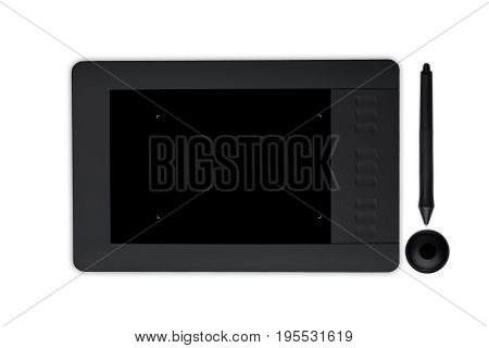 Touch pad for retouch. Graphic tablet with stylus isolated over white backround. Necessary equipment for retouching. Photo editor work space. Art creativity design and retouching concept