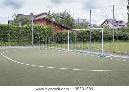 Stadium Soccer Goal or Football Goal. School stadium.