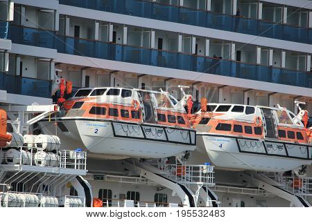Velsen The Netherlands - May 30th 2017: Costa Mediterranea on North Sea Channel detail of lifeboat