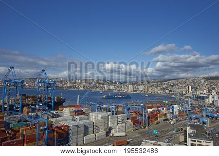 VALPARAISO, CHILE - July 14, 2017: View across the UNESCO World Heritage City of Valparaiso in Chile from Paseo 21 de mayo.