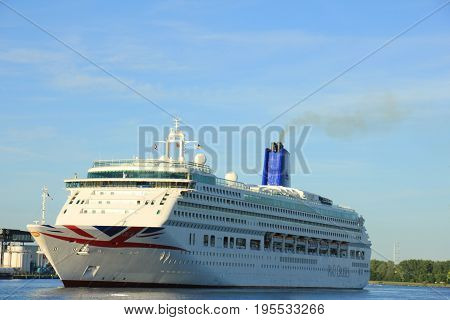 Velsen The Netherlands - May 31st 2017: Aurora P&O Cruises on North Sea Channel detail of ship