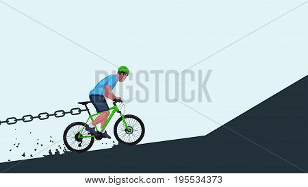 illustration of man riding up on bicycle and some chain stop him