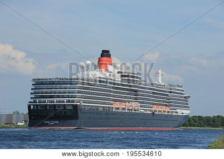 Velsen The Netherlands - June 5th 2017: Queen Victoria Cunard on North Sea Channel towards Amsterdam
