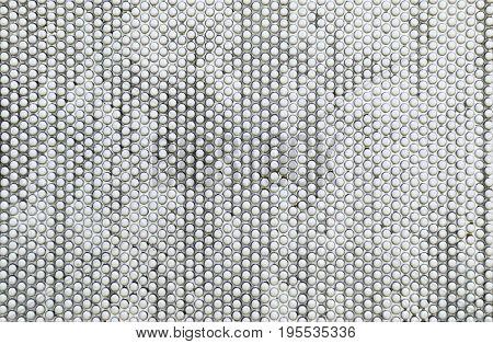 Abstract white background of white iron balls horizontal