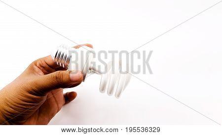 Man Hand Holding The Led Spiral Light Bulbs