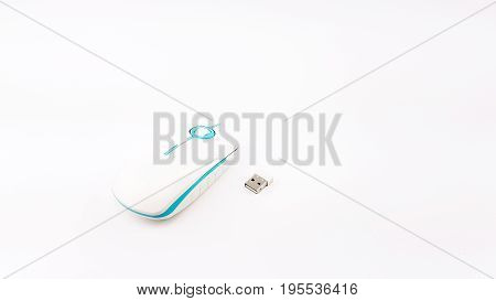 Usb Wireless Mouse In Thin Shape With Blue And White Color