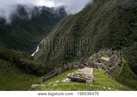 The Inca ruins of Winay Wayna and the surrounding valley along the Inca Trail to Machu Picchu in Peru; Concept for travel in Peru