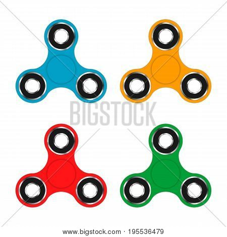 Fidget hand spinner toy for increased focus, stress relief. Relaxation device. Vector illustration.