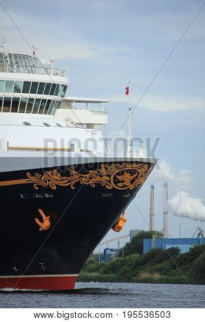 Velsen the Netherlands - June 27th 2017: Disney Magic on North Sea Canal sailing towards Amsterdam Cruise terminal