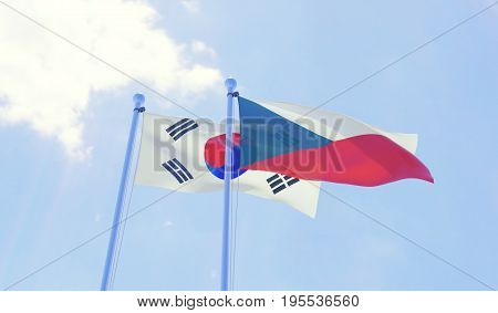 Czech Republic and Republic of Korea, two flags waving against blue sky. 3d image