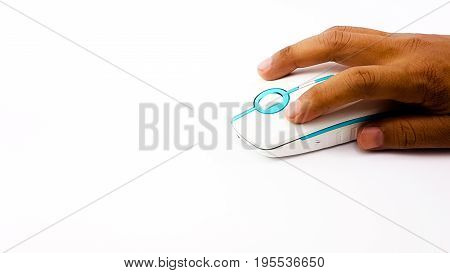 Man Hand Using  Wireless Mouse In Thin Shape