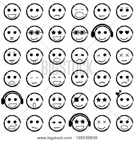 Set of Emoticons hand drawn. Collection emoji icons. Isolated vector illustration.