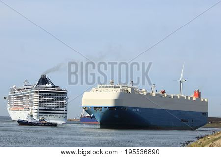 Ijmuiden The Netherlands - September 10th 2016: MSC Splendida a cruise ship owned and operated by MSC Cruises towards North Sea