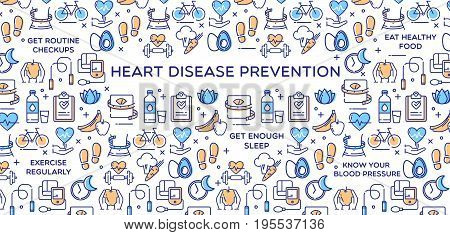 Heart disease prevention conceptual illustration perfect for use in website design, presentations, infographics etc.