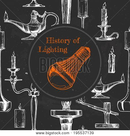 Vector vintage engraving illustration history of lighting. Seamless pattern on background. LED lamp in the center of composition.