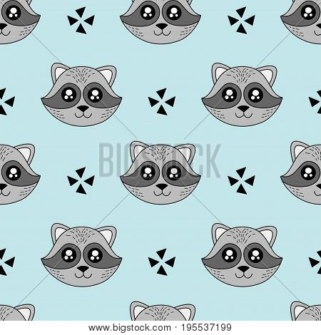 Cute kids pattern for girls and boys. Colorful raccoon stars on the abstract background create a fun cartoon drawing.