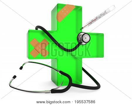 Green cross with stethoscope plaster and thermometer isolated on white background 3D rendering