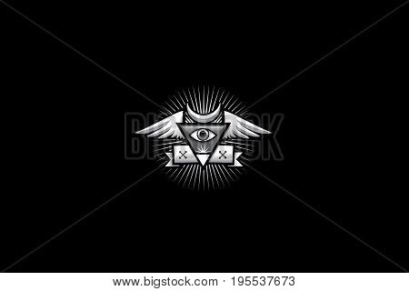 This is a conspiracy type logo. White on black.