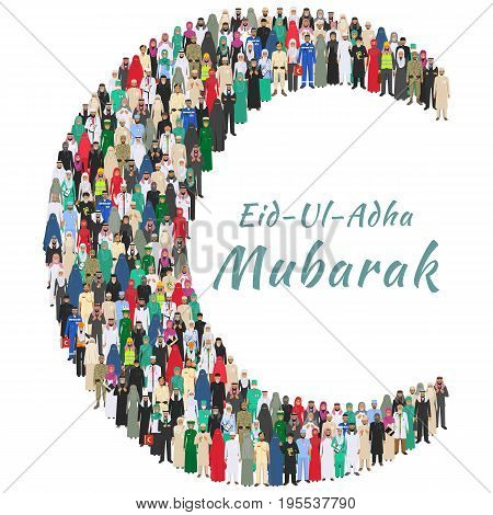 Muslim holiday Eid al-Adha. Arab man and woman different professions standing together in the shape of crescent on white background in flat style. Flat design people characters. Social concept. Muslim concept.