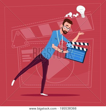 Man Holding Clapperboard Modern Video Blogger Vlog Creator Channel Flat Vector Illustration