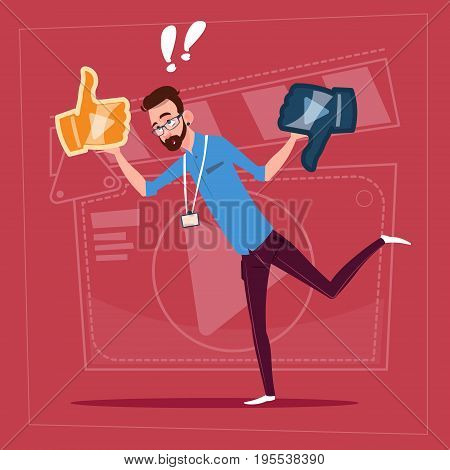 Man Hold Thumb Up And Down Modern Video Blogger Vlog Creator Channel Flat Vector Illustration