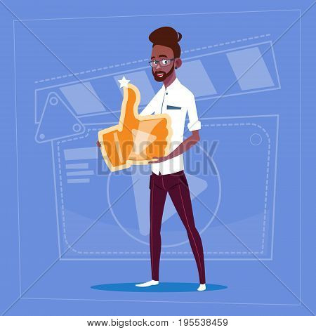 African American Man Hold Thumb Up Modern Video Blogger Vlog Creator Channel Like Flat Vector Illustration