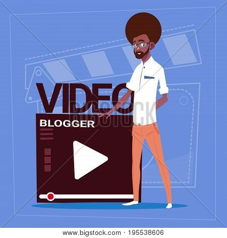 African American Man Over Vlogger Channel Screen Modern Video Blogger Vlog Creator Flat Vector Illustration