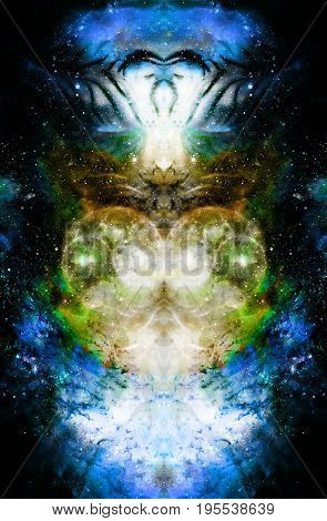 Cosmic space and stars and light heart, color cosmic abstract background. Mirror effect