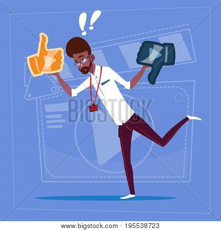 African American Man Hold Thumb Up And Down Modern Video Blogger Vlog Creator Channel Flat Vector Illustration