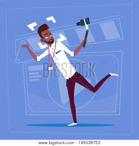 African American Man Holding Action Camera Modern Video Blogger Vlog Creator Channel Flat Vector Illustration