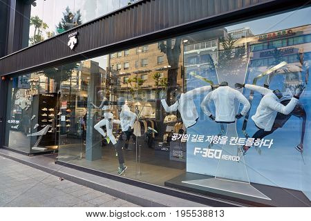 SEOUL, SOUTH KOREA - CIRCA MAY, 2017: Descente store in Seoul. Descente Ltd. is a Japanese sports clothing and accessories company