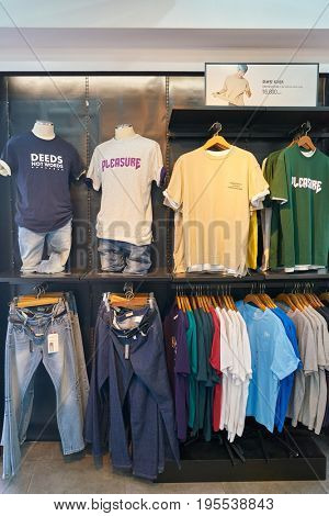 SEOUL, SOUTH KOREA - CIRCA MAY, 2017: goods on display at Giordano store in Seoul. Giordano International Limited is international retailer of men's, women's and children's apparel and accessories.