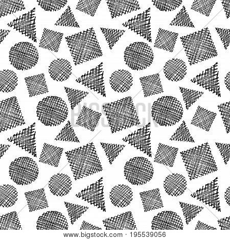 Abstract geometric shapes vector hand drawn seamless pattern. EPS10