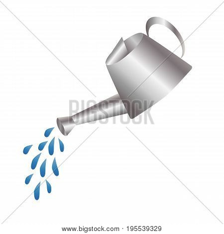 Gray metal stainless steel watering can water sprayed from watering can drops in the air