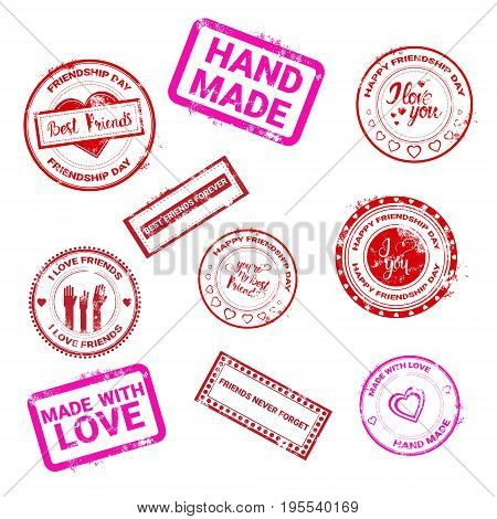 Happy Friendship Day Stamp Collection Logo Greeting Card Friends Holiday Flat Vector Illustration