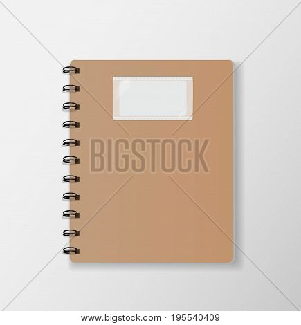 Brown notebook top view on white desk background paper cover vector illustration