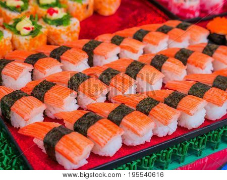 a Crab stick sushi japanese traditional cuisine