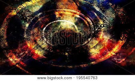 Cosmic space and stars, color cosmic abstract background and black fractal structure and light swirl