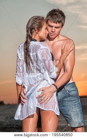 Romantic couple having fun on the seaside