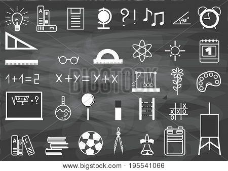 Vector school design. School subjects on the board