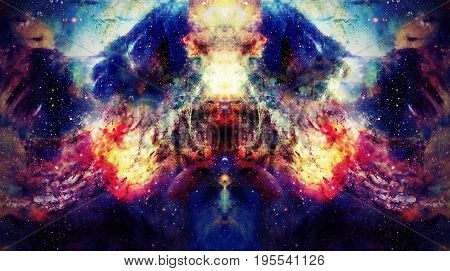 Cosmic space and stars, color cosmic abstract background. Mirror effect