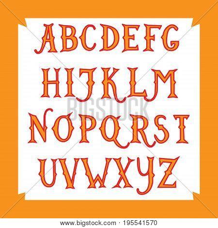 Vintage hand drawn font. Alphabet. Vector illustration .
